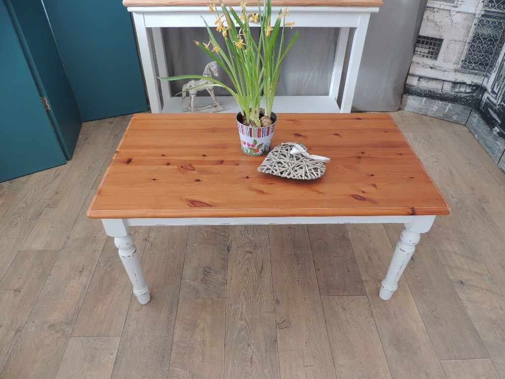Farmhouse Style Shabby Chic Pine Coffee Table Eclectivo London