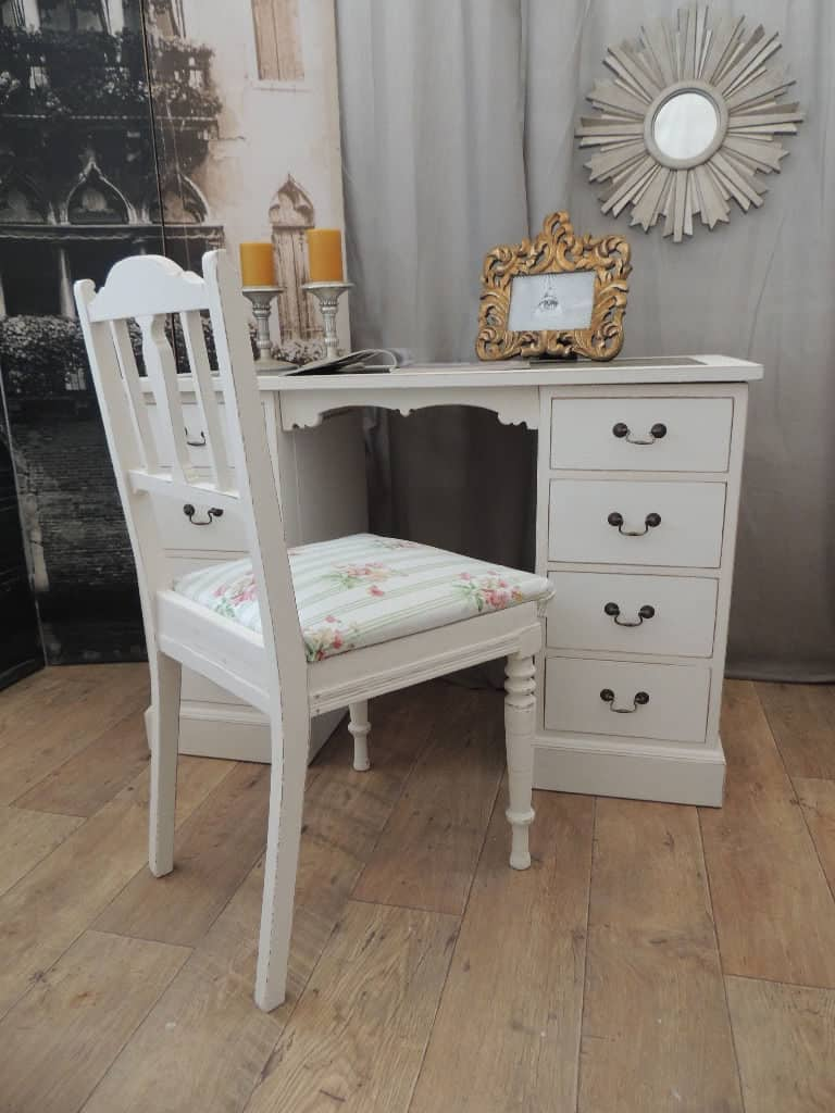 Lovely Small Shabby Chic Desk With Antique Chair