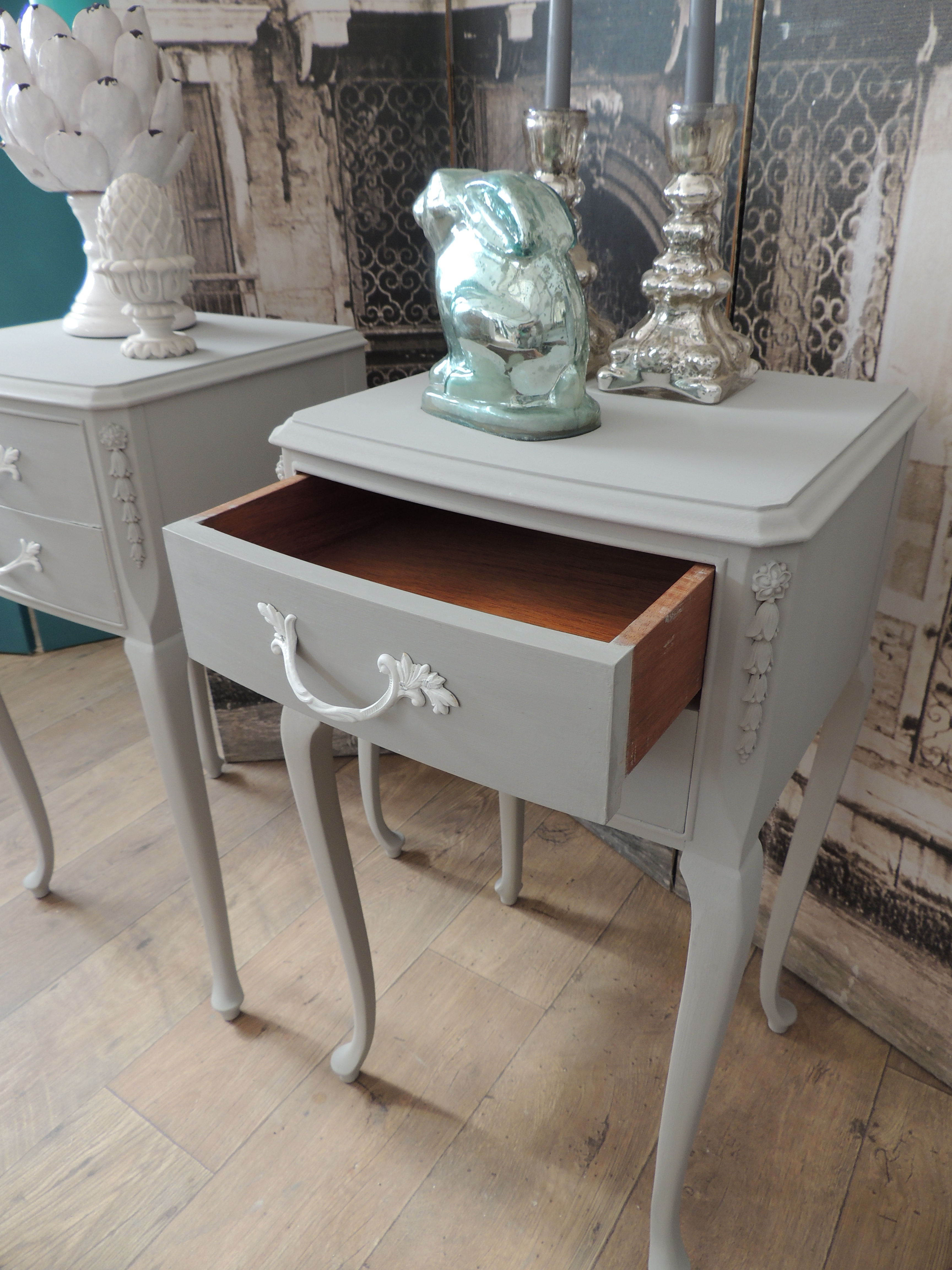 Shabby Chic Pair Of French Style Bedside Tables