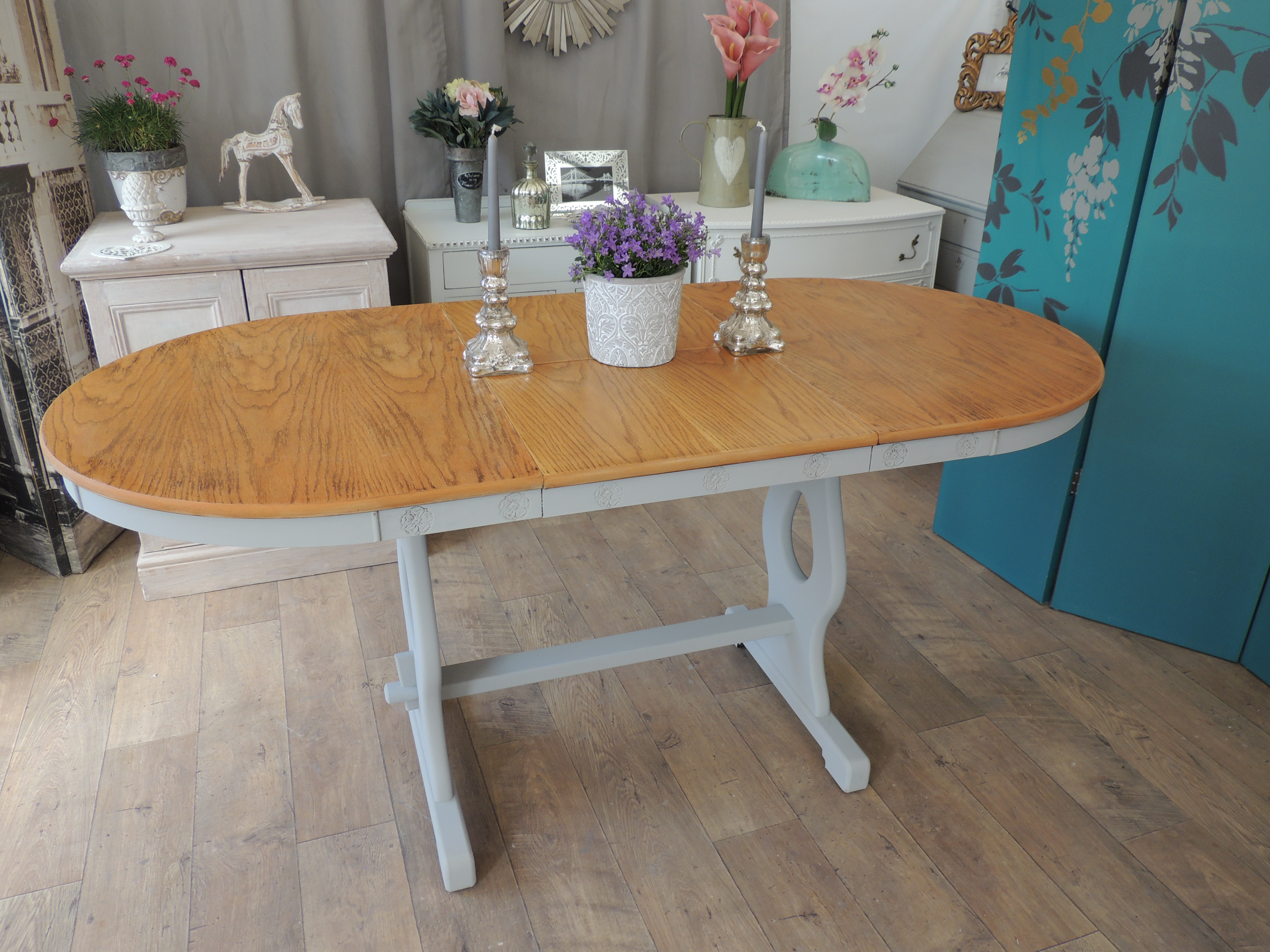 Shaby Chic Oak Extending Dining Table For 4 8 People