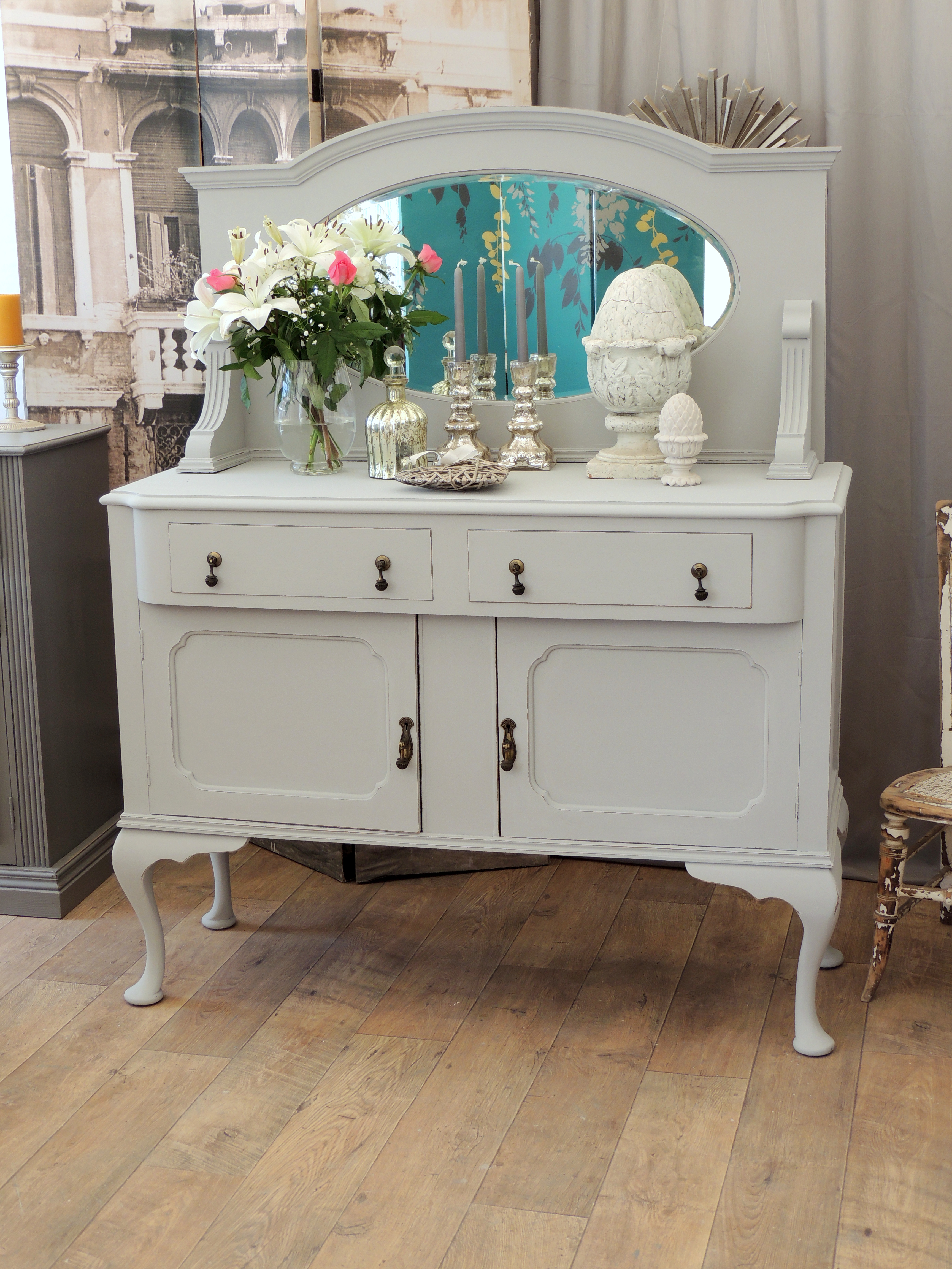 shabby chic edwardian sideboard with mirror eclectivo london furniture with soul. Black Bedroom Furniture Sets. Home Design Ideas