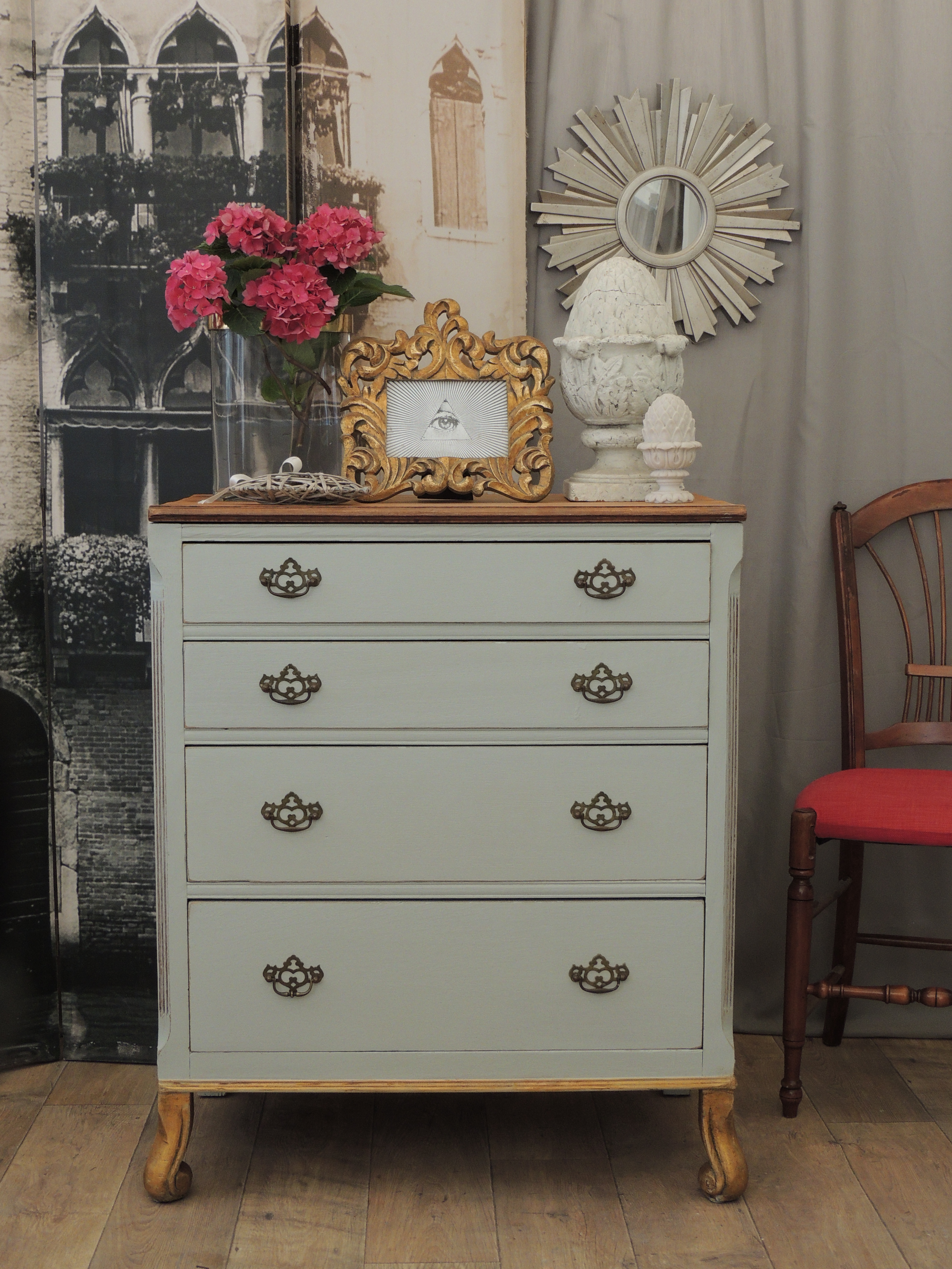 Beautiful Shabby Chic French Antique Secretaire Chest Of Drawers