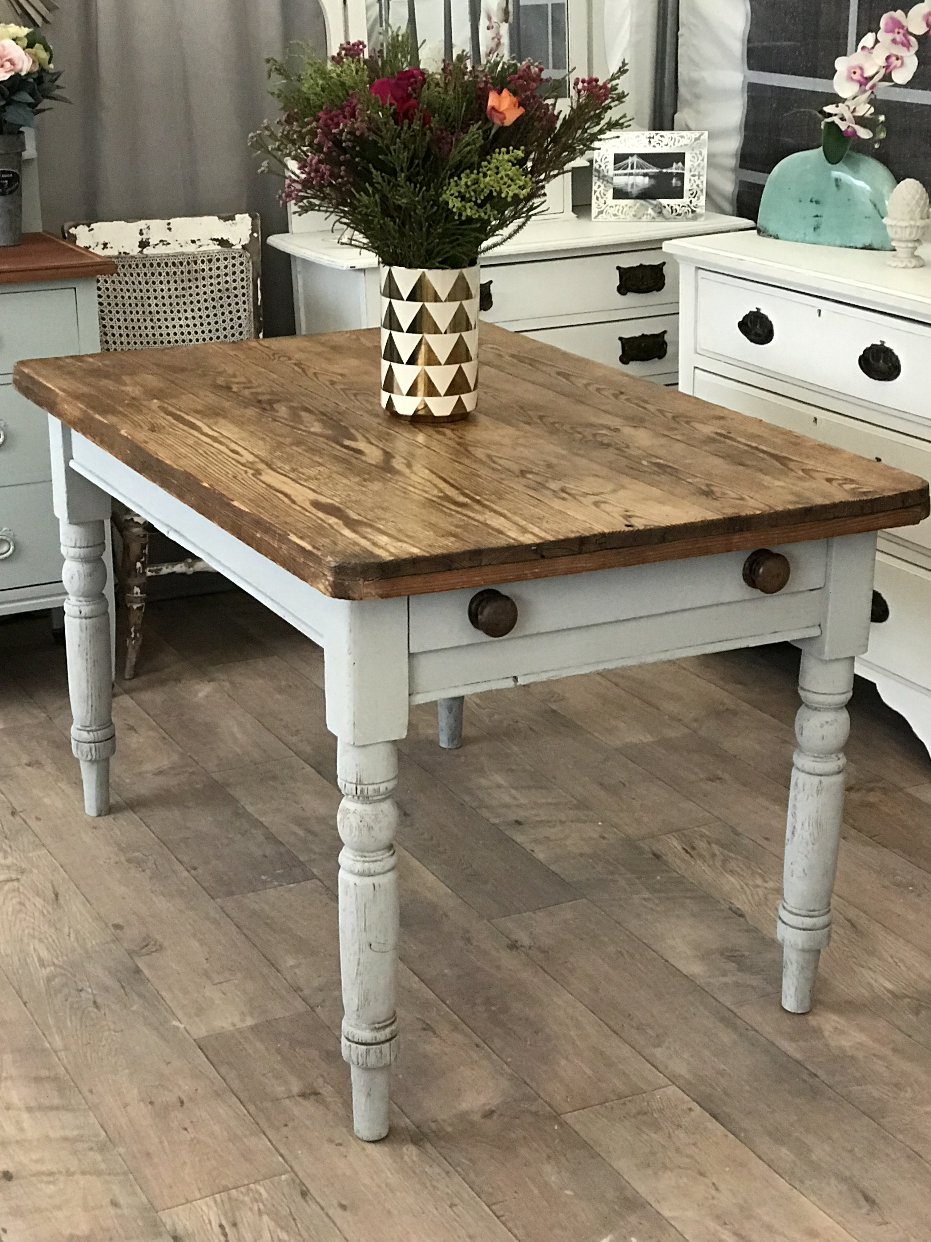 Shabby Chic Victorian Solid Pine Dining Kitchen Table Eclectivo London Furniture With Soul