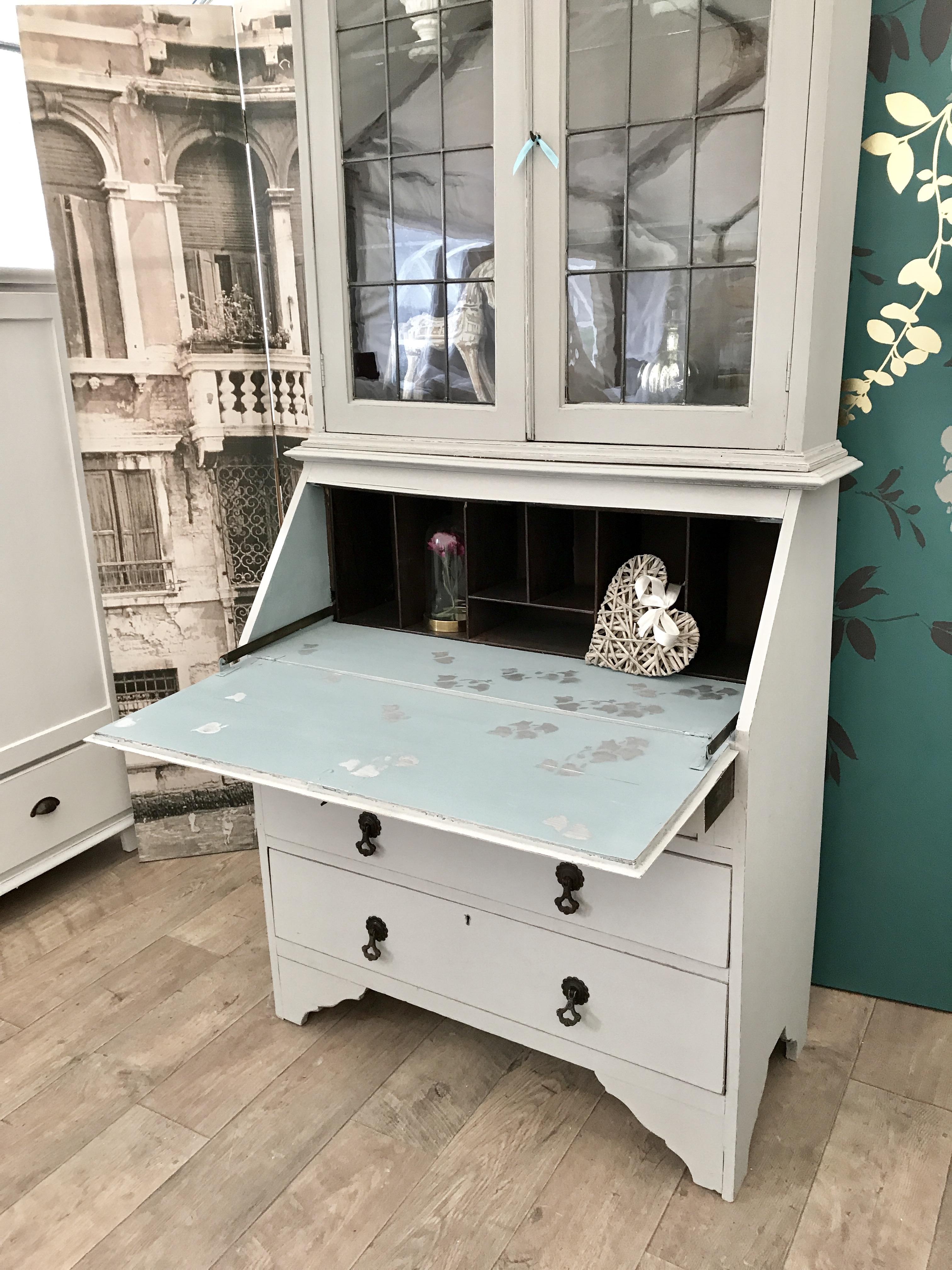 Shabby Chic Edwardian Bookcase Bureau