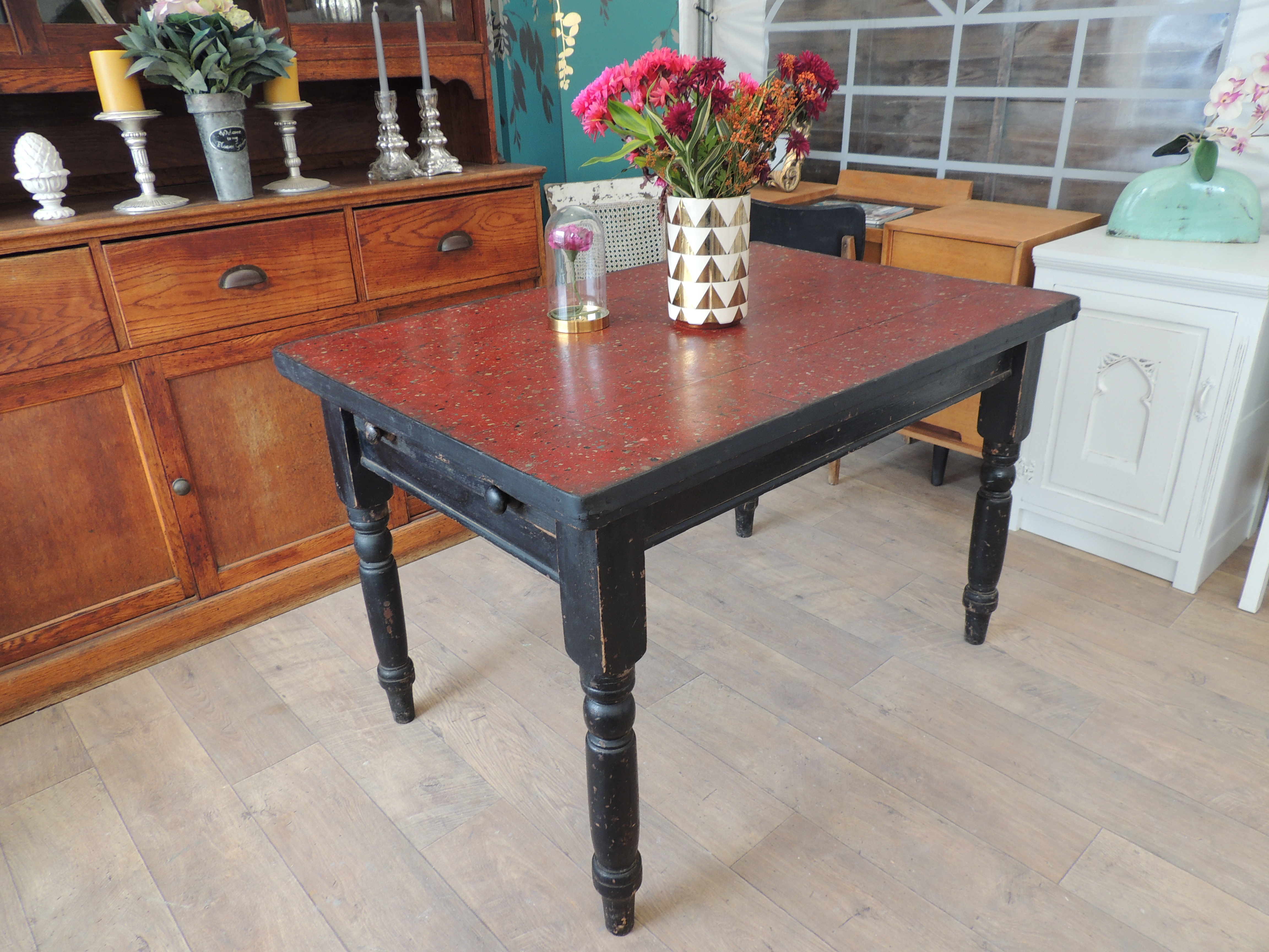 Vintage Victorian Kitchen Table With Drawer