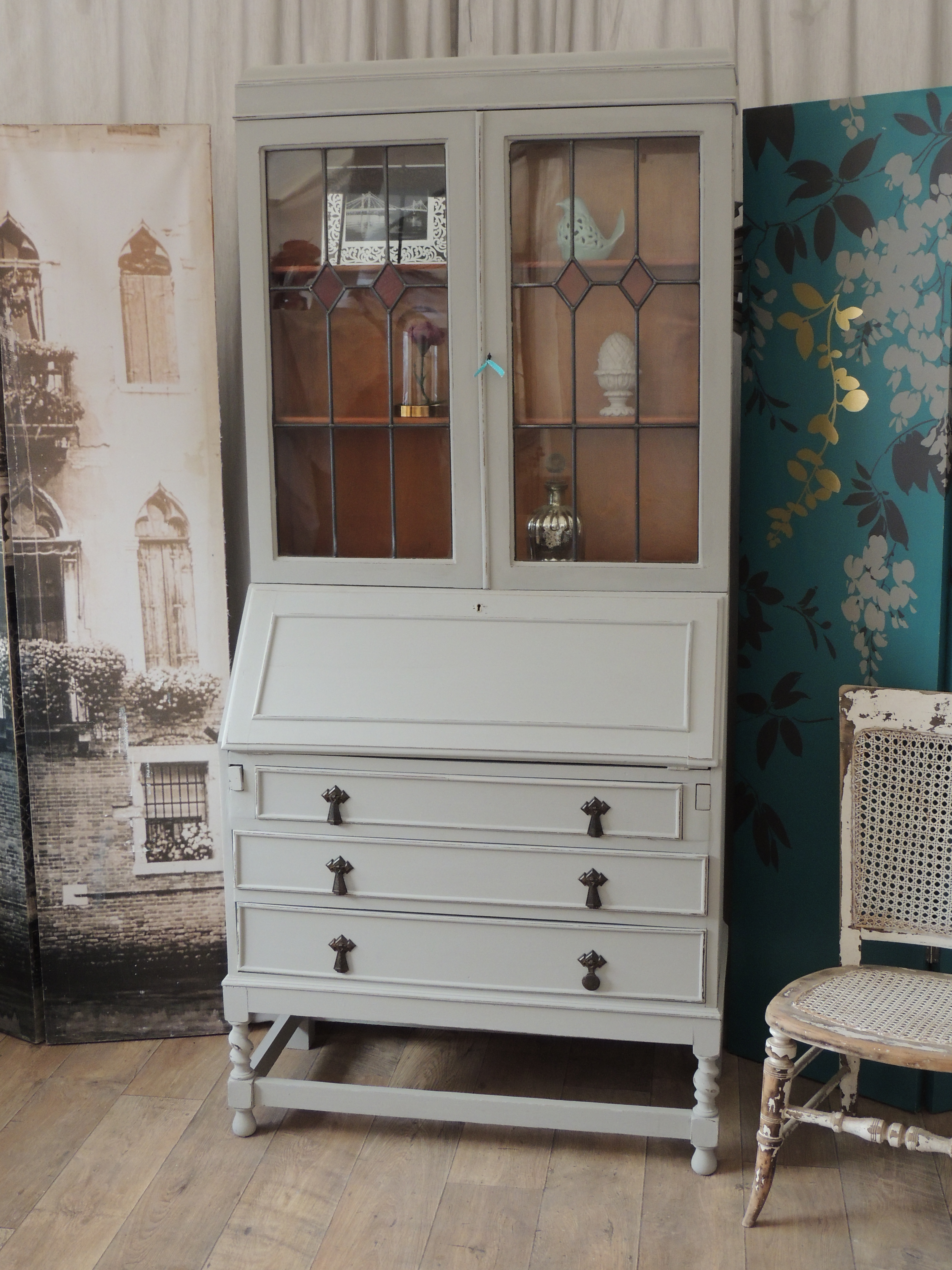 shabby chic writing bureau bookcase eclectivo london furniture with soul. Black Bedroom Furniture Sets. Home Design Ideas