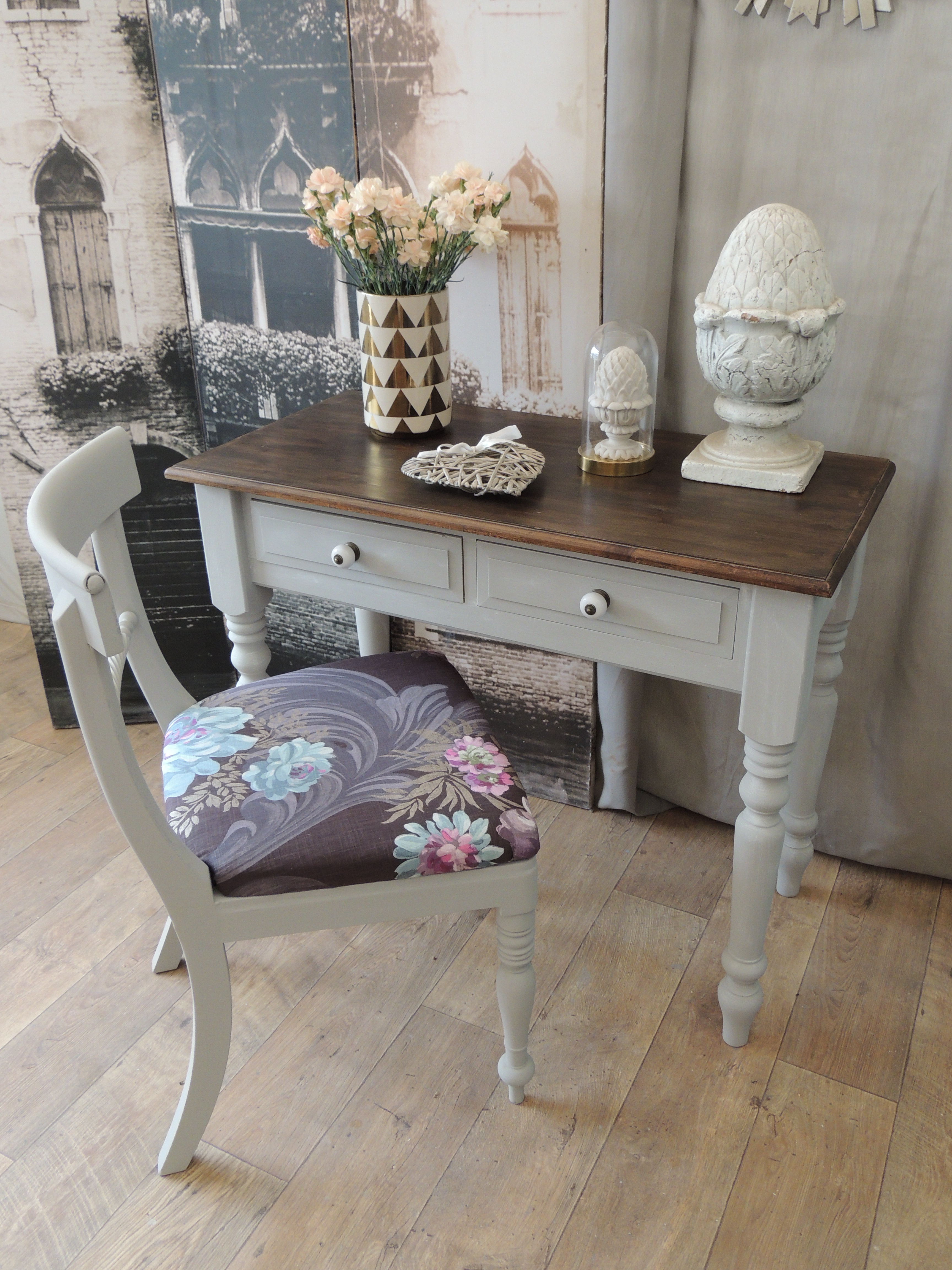 Shabby Chic Solid Pine Desk/console Table With Chair