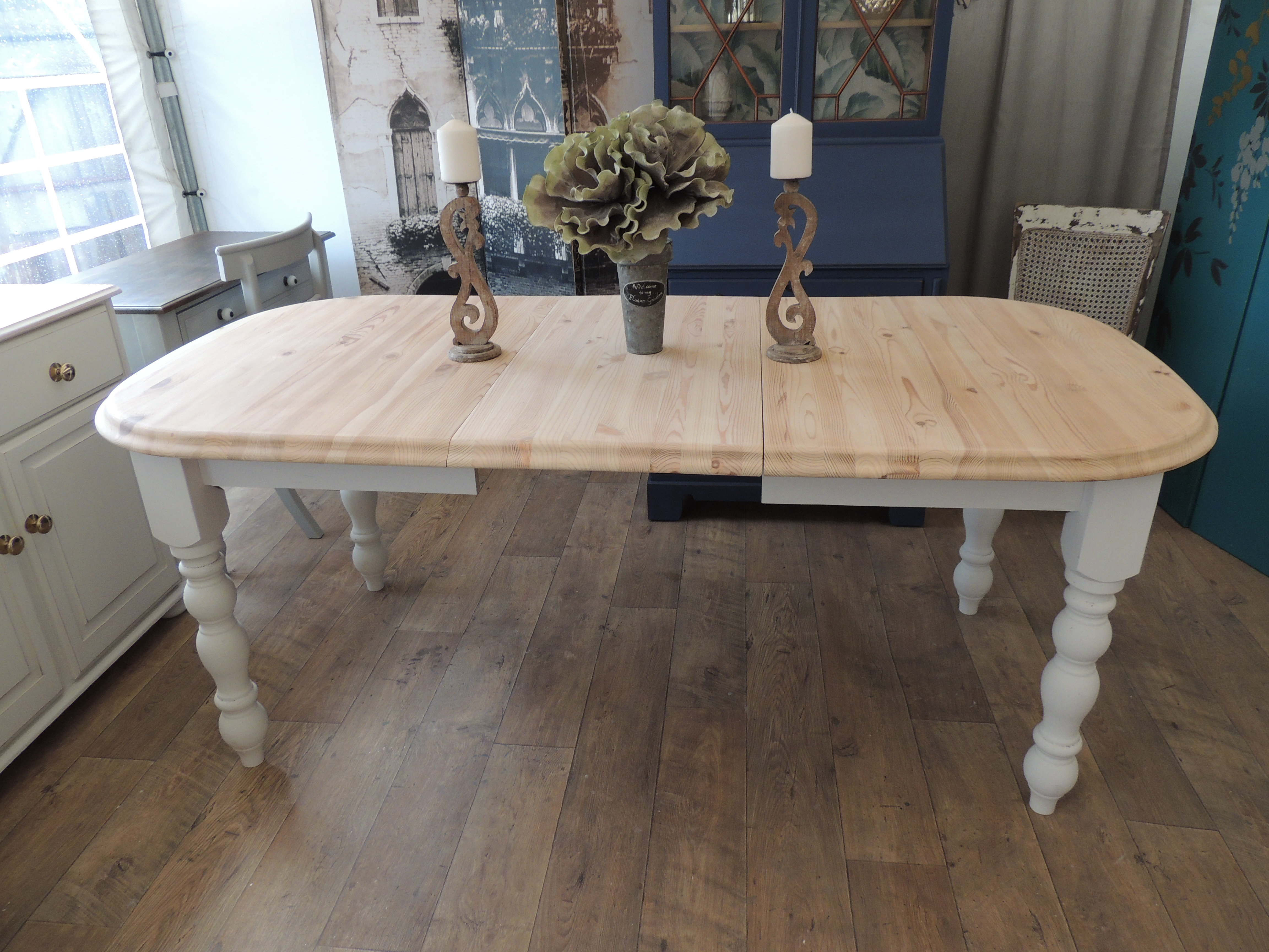 Shabby Chic Solid Pine Extending Dining Table For 4 8 People