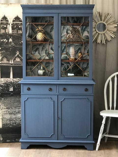 Shabby Chic Glass Display Cabinet With Cupboard, Drawers And Shelves