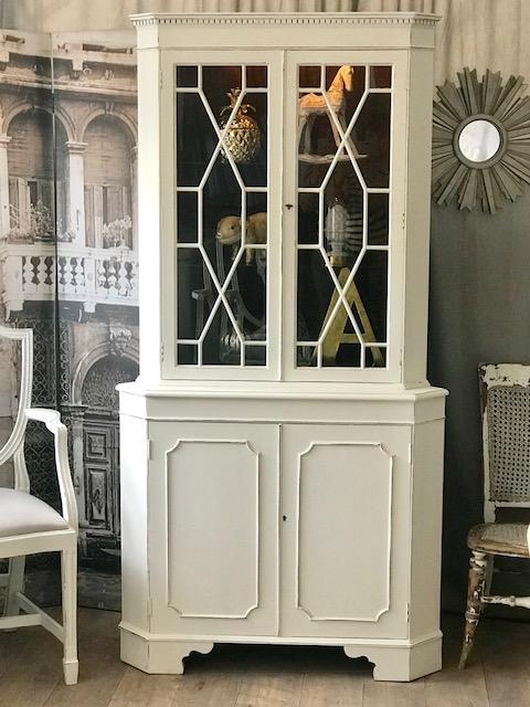 Shabby Chic Glass Corner Display Cabinet
